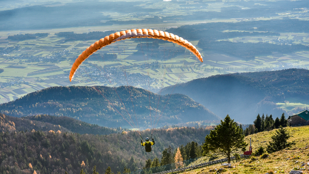 Paraglider in the Bavarian Alps.