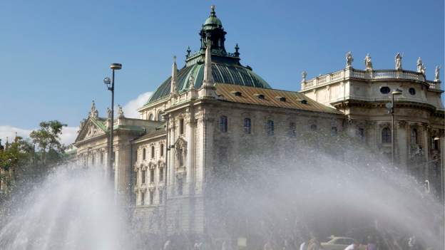 Water fountains at the Karlsplatz in Munich.