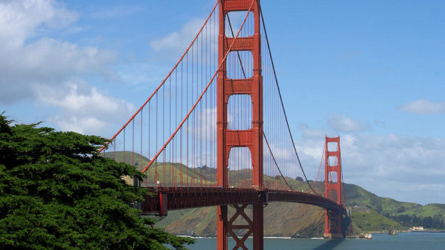 The Golden Gate Bridge in San Francisco on a sunny day.