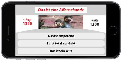 Mobile phone showing a quiz question of the app 'Verstehen Sie Deutsch?'