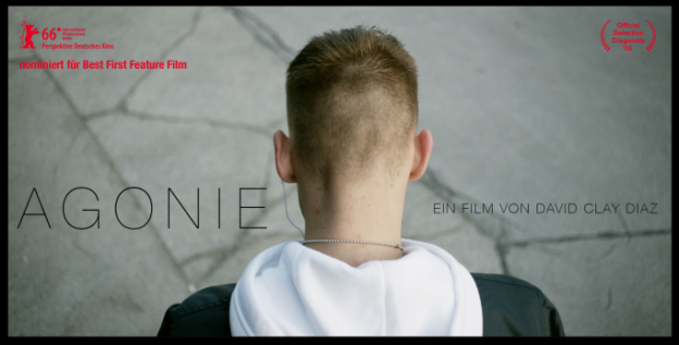 Movie poster for the movie 'Agonie'. Back of the head of a young man looking at the floor.