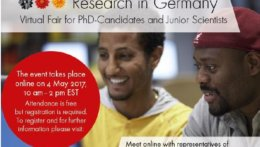 The flyer of the Research in Germany Virtual Fare 2017.