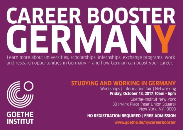 Flyer of the Career Booster Germany 2017 in New York.