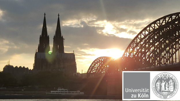 The cologne cathedral in front of a sunset, the logo of the University of Cologne in the lower right corner.