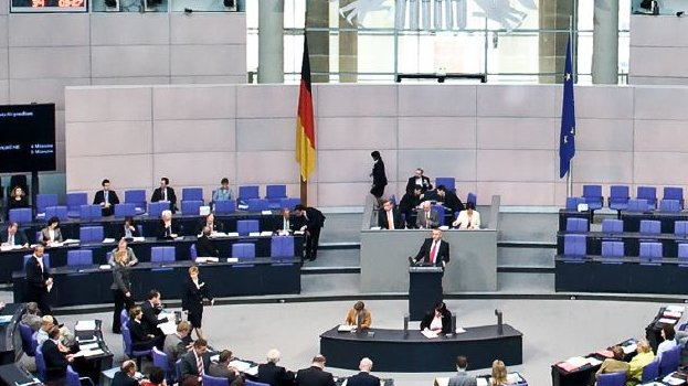 Picture of a session in the German Bundestag.